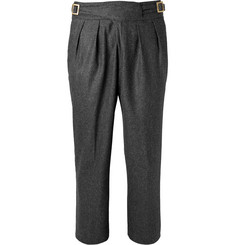 Rubinacci Manny Tapered Pleated Mélange Stretch-Wool and Cashmere-Blend Trousers