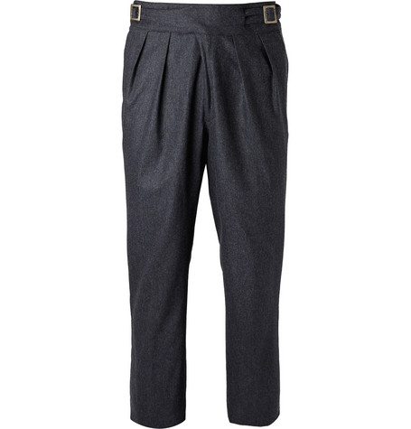 RUBINACCI Manny Tapered Pleated Mélange Stretch-Wool And Cashmere-Blend Trousers in Blue