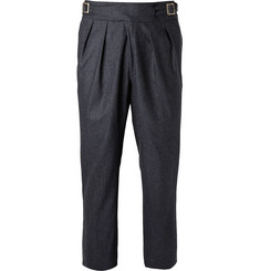 Rubinacci - Manny Tapered Pleated Mélange Stretch-Wool and Cashmere-Blend Trousers