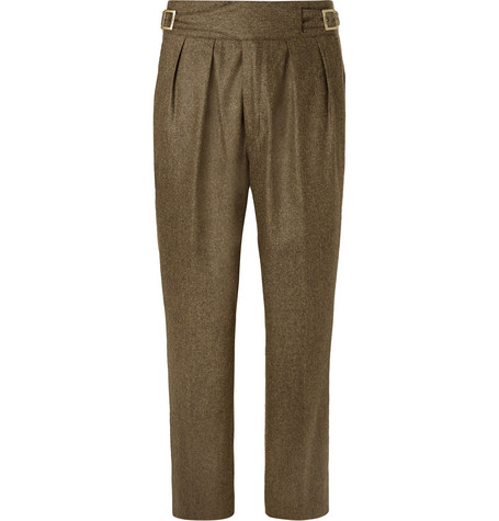 RUBINACCI Manny Tapered Pleated Mélange Stretch-Wool And Cashmere-Blend Trousers in Green