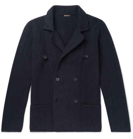 RUBINACCI Slim-Fit Double-Breasted Ribbed Cashmere Cardigan in Navy