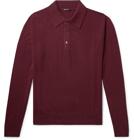 RUBINACCI Cashmere Polo Shirt in Burgundy