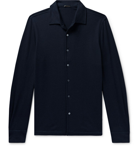 RUBINACCI Slim-Fit Cashmere Shirt in Navy