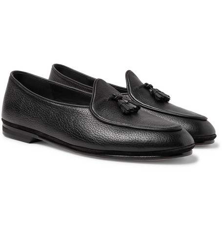 Marphy Textured-leather Loafers - Black