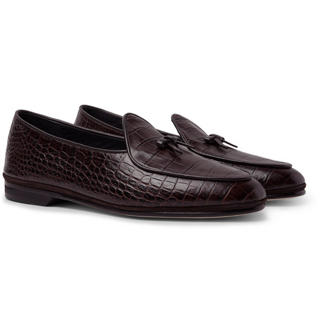 RUBINACCI Marphy Suede-Trimmed Croc-Effect Leather Loafers in Dark Brown