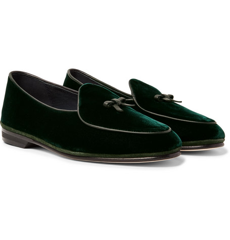 RUBINACCI Marphy Velvet Loafers in Dark Green