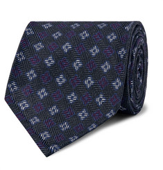 Rubinacci - 7.5cm Floral-Print Herringbone Wool and Silk-Blend Tie