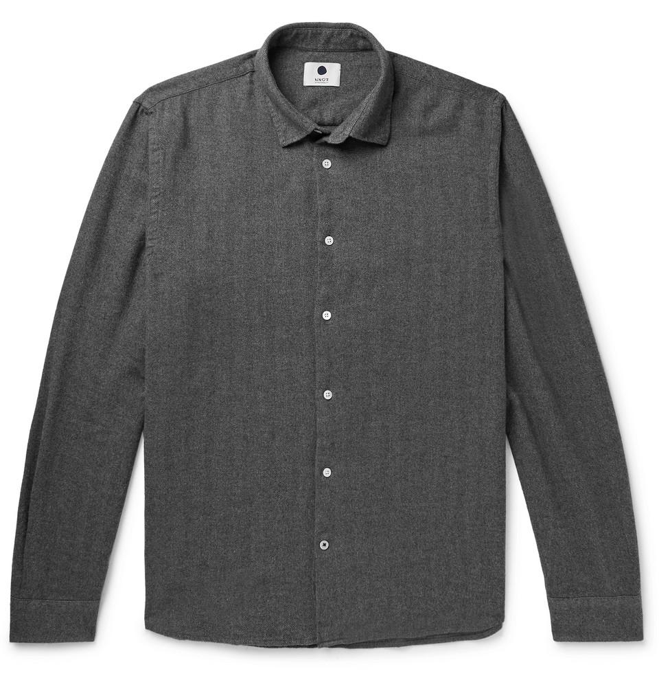 Bild på Alberto Herringbone Brushed Cotton-flannel Shirt - Anthracite