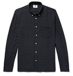 NN07 Falk Slim-Fit Button-Down Collar Checked Cotton and Wool-Blend Shirt