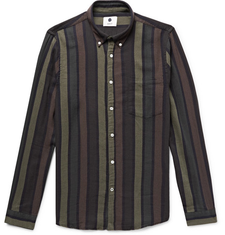 Falk Slim Fit Button Down Collar Striped Cotton And Wool Blend Shirt by Nn07