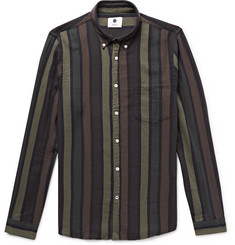 NN07 Falk Slim-Fit Button-Down Collar Striped Cotton and Wool-Blend Shirt