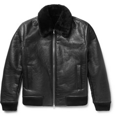 NN07 - Rowan Shearling-Trimmed Leather Bomber Jacket