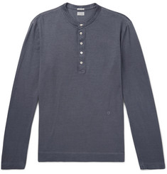 Massimo Alba Garment-Dyed Cotton and Cashmere-Blend Henley T-Shirt