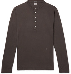 Massimo Alba - Slim-Fit Garment-Dyed Cotton and Cashmere-Blend Henley T-Shirt