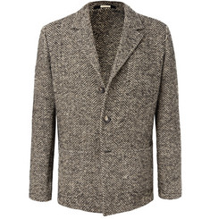 Massimo Alba - Brown Unstructured Herringbone Wool-Blend Blazer