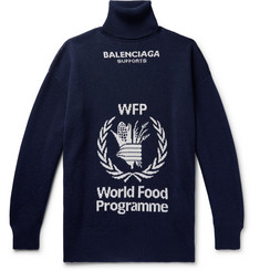 Balenciaga - + The World Food Programme Oversized Logo-Intarsia Virgin Wool Rollneck Sweater