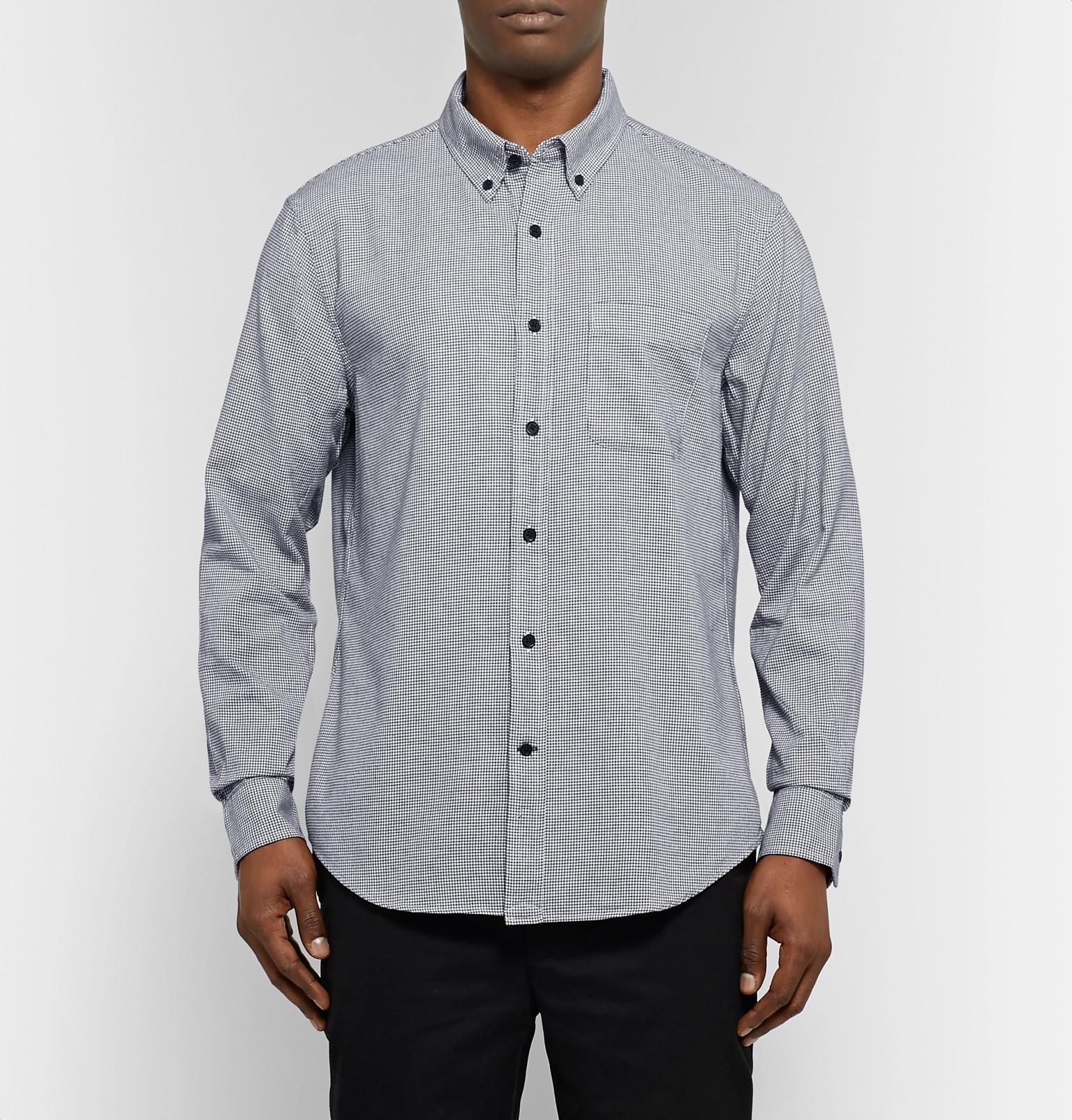 d2b373973e4 Club Monaco - Button-Down Collar Puppytooth Cotton-Flannel Shirt