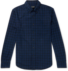 Club Monaco Button-Down Collar Checked Brushed-Cotton Shirt