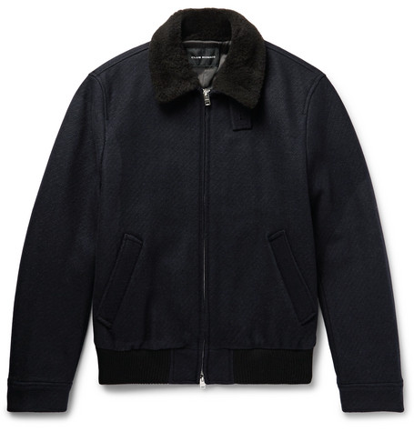 Shearling Trimmed Wool Blend Bomber Jacket by Club Monaco