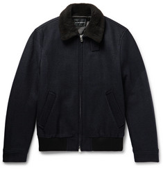 Club Monaco Shearling-Trimmed Wool-Blend Bomber Jacket