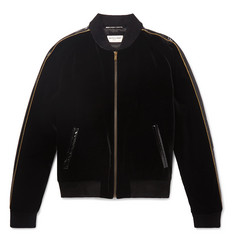 Saint Laurent Watersnake, Lurex and Chenille-Trimmed Velvet Bomber Jacket