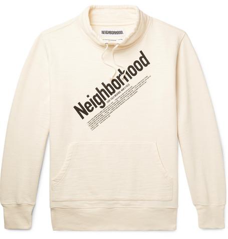 Sweatshirt Cotton Loopback Logo Neighborhood print White jersey qTS0SHnw