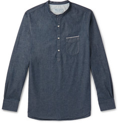 Officine Generale - Grandad-Collar Selvedge Cotton-Chambray Half-Placket Shirt