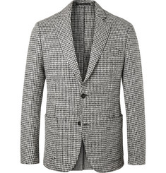 Officine Generale Grey Slim-Fit Unstructured Houndstooth Wool-Tweed Blazer