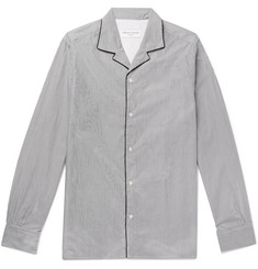 Officine Generale Camp-Collar Striped Cotton-Poplin Shirt