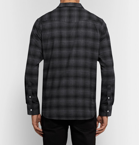 Cotton Flannel Half Placket Shirt by Officine Generale