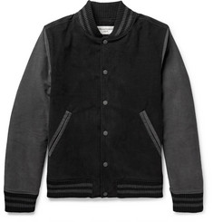 Officine Generale Slim-Fit Two-Tone Cotton-Corduroy Bomber Jacket