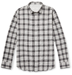 Officine Generale Checked Textured Cotton-Blend Flannel Shirt