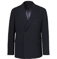 Officine Generale Navy Double-Breasted Stretch-Wool Seersucker Blazer