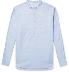 Officine Generale Slim-Fit Grandad-Collar Striped Slub Cotton Shirt