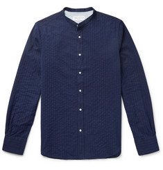 Officine Generale Grandad-Collar Striped Cotton-Jacquard Shirt