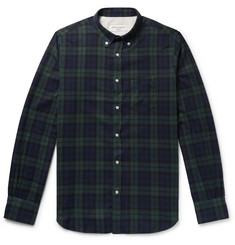 Officine Generale Button-Down Collar Black Watch Checked Cotton-Flannel Shirt