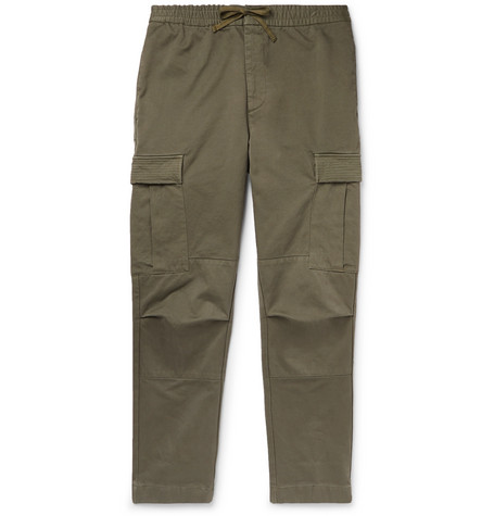 OFFICINE GENERALE | Officine Generale - Slim-fit Garment-dyed Cotton-twill Drawstring Cargo Trousers - Green | Goxip
