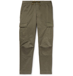 Officine Generale Slim-Fit Garment-Dyed Cotton-Twill Drawstring Cargo Trousers