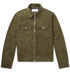 Officine Generale Johan Suede Zip-Up Trucker Jacket