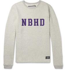 Neighborhood Logo-Appliquéd Mélange Fleece-Back Cotton-Jersey Sweatshirt