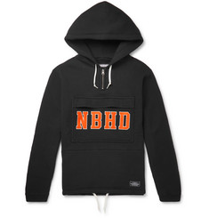 Neighborhood Logo-Appliquéd Fleece-Back Cotton-Jersey Half-Zip Hoodie
