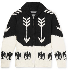 Neighborhood Intarsia Wool Zip-Up Cardigan