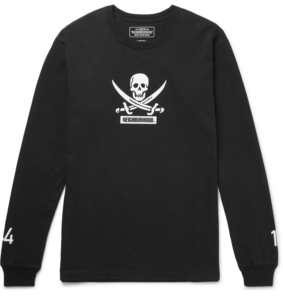 Printed Cotton-jersey T-shirt - Black