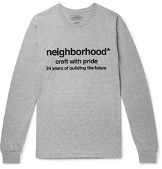 Neighborhood - Logo-Print Mélange Cotton-Jersey T-Shirt