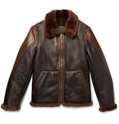 Schott B-3 Panelled Shearling and Leather Bomber Jacket