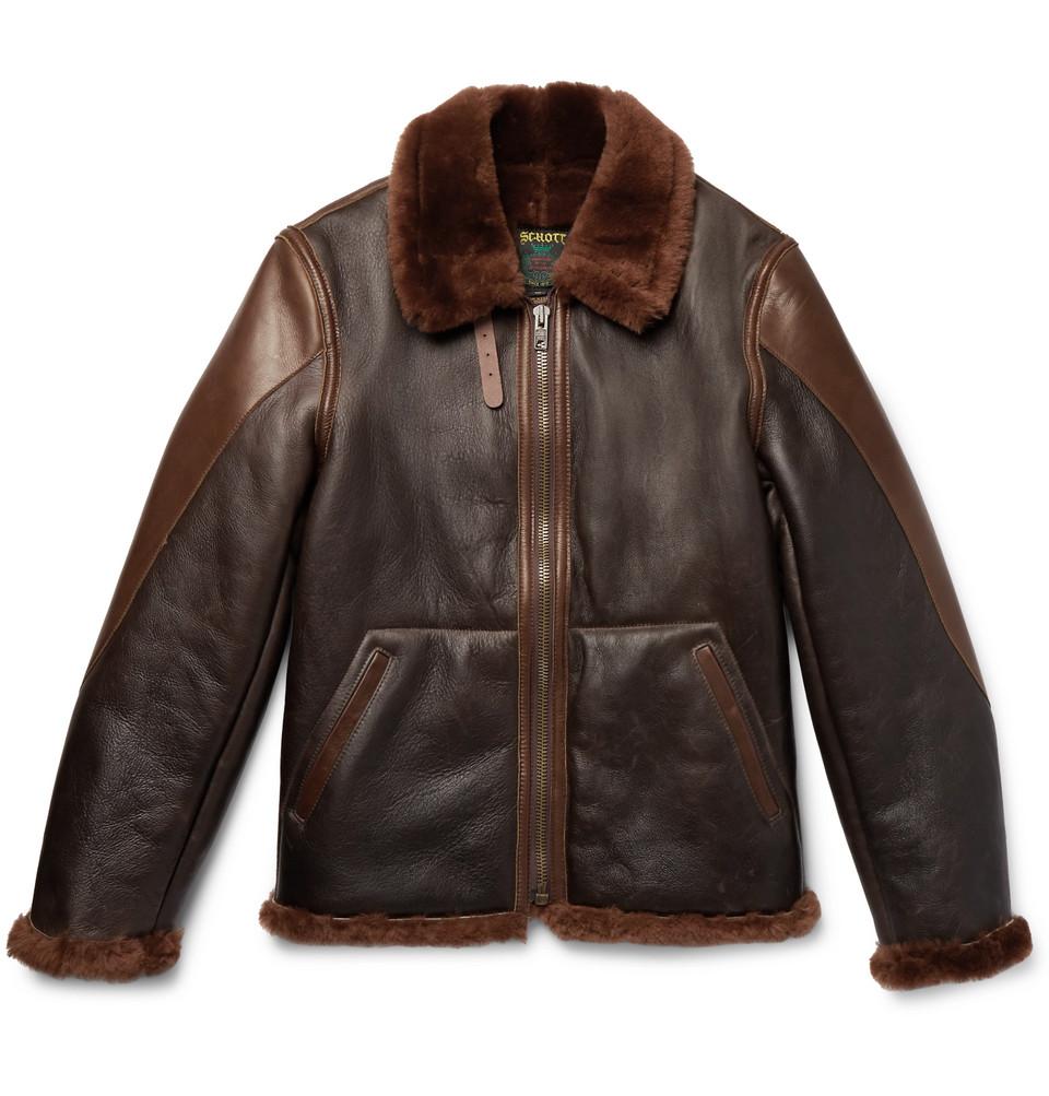 Billede af B-3 Panelled Shearling And Leather Bomber Jacket - Dark brown
