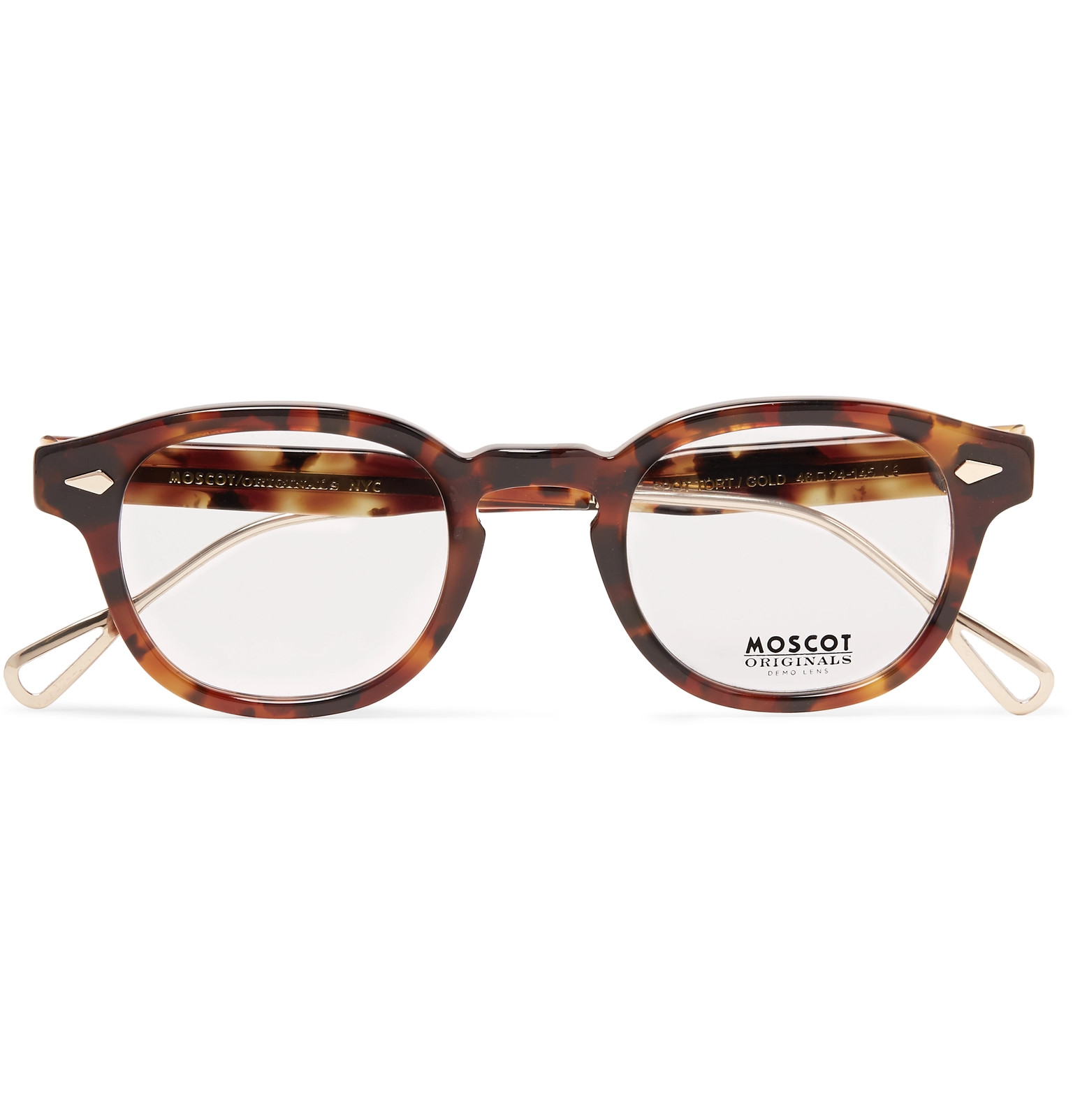 99c85f673ca MoscotLemtosh Round-Frame Tortoiseshell Acetate and Gold-Tone Titanium  Optical Glasses
