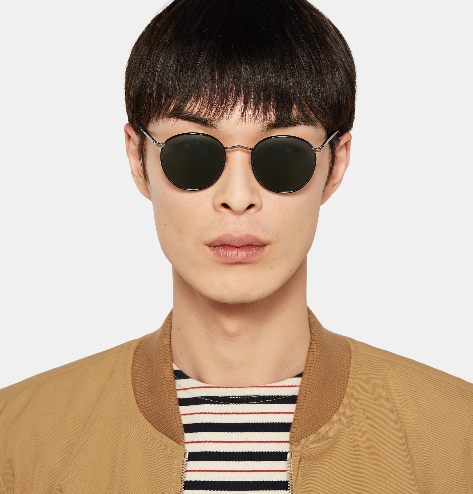 b3657f3f38508 Moscot - Zev Round-Frame Silver-Tone and Enamel Sunglasses