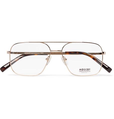 7a689ba3ac1 Moscot Shtarker Aviator-Style Gold-Tone Optical Glasses