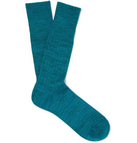 Mélange Cotton-blend Socks - Teal
